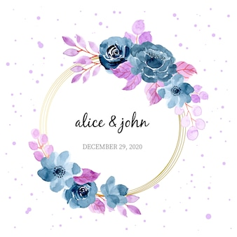 Blue purple watercolor floral wreath
