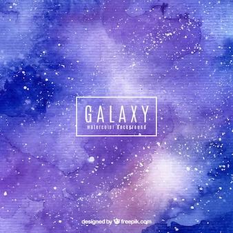 Sfondo di galassia blu e viola di acquerello