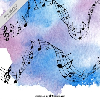 Blue and purple watercolor music background