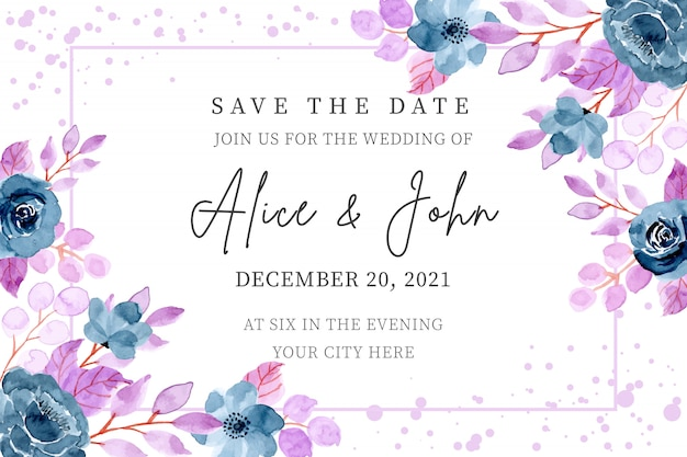 Blue purple wedding invitation card with floral watercolor