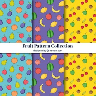 Blue, purple and yellow fruti pattern collection