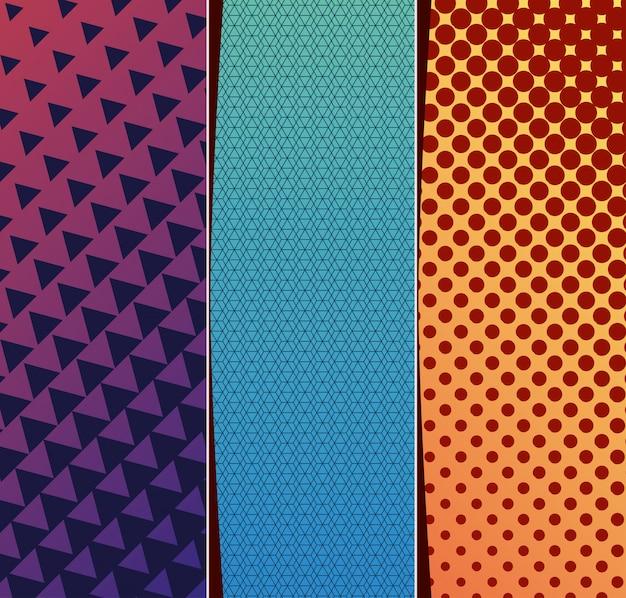 青紫黄色のグラデーションとパターンの背景フレームセット、カバーデザイン。