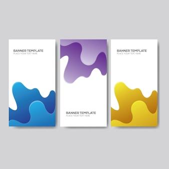Blue, purple and yellow gradient fluid banner