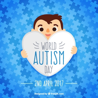 Blue puzzle pieces of world autism day puzzle pieces