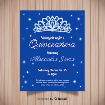 Blue quinceañera  party invitation