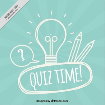 Blue quiz background with light bulb and pencils