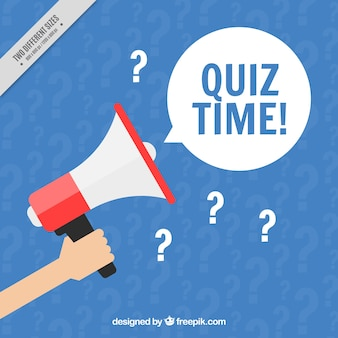 Blue quiz background with megaphone