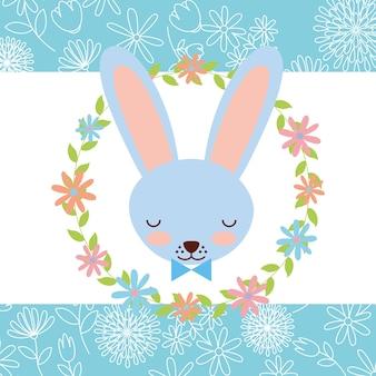 Blue rabbit face wreath flowers decoration card
