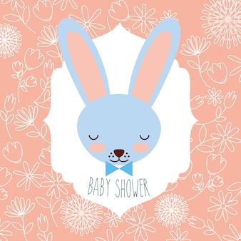 Blue rabbit head baby shower label