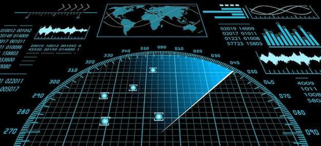 미래형 사용자 인터페이스 hud와 디지털 세계 지도가 있는 파란색 레이더 화면. 인포 그래픽 디자인 요소입니다. 벡터 일러스트 레이 션.