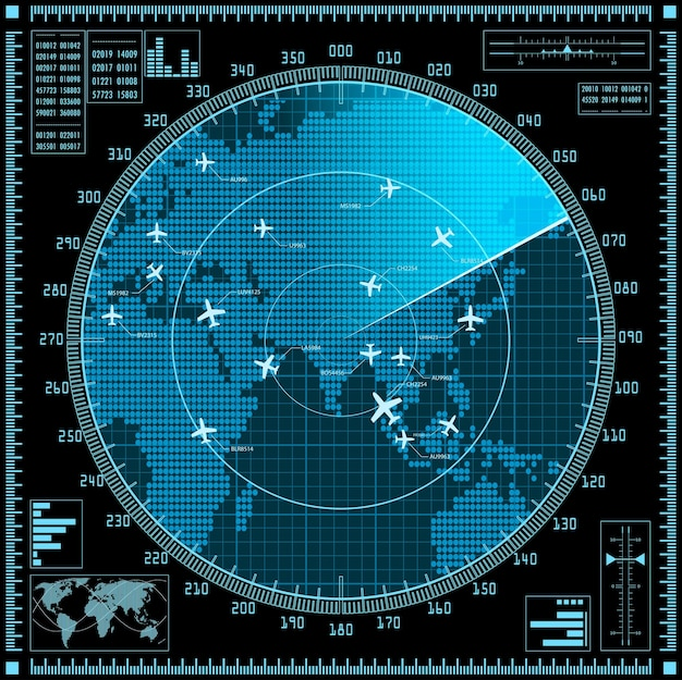 Синий экран радара с самолетами и картой мира