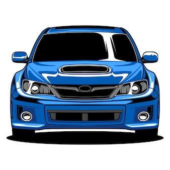 Иллюстрация синий ралли автомобиль