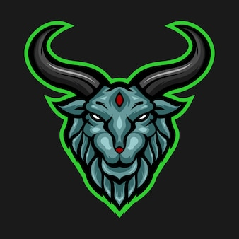 ブルーラムヤギヘッドマスコットロゴ