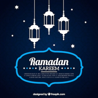 Синий фон рамадан карим с лампами