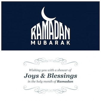 Blue ramadan kareem greeting card