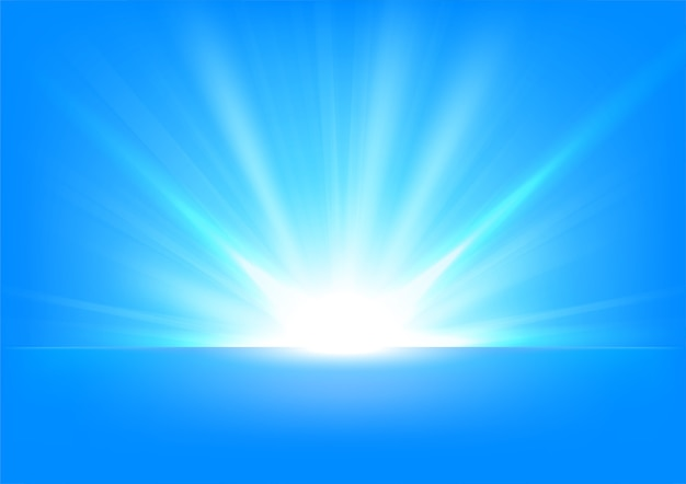Blue rays rising on bright background