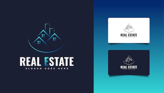 ラインスタイルの青い不動産のロゴ。建設、建築、建物、または家のロゴ