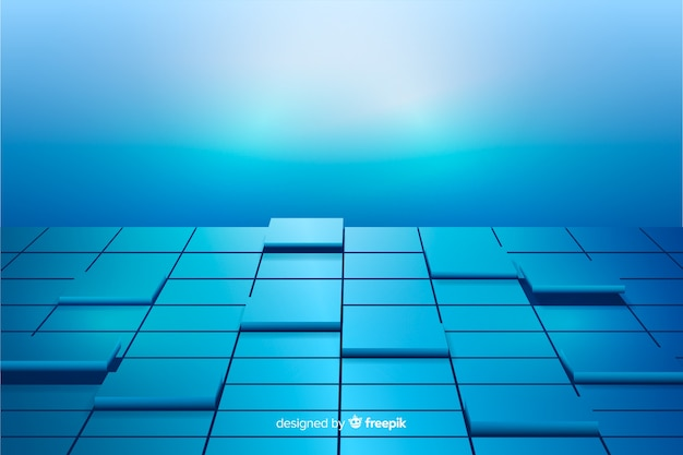 Blue realistic cubes floor background
