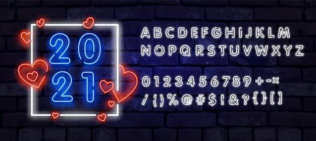 Синий реалистичный неоновый алфавит спереди