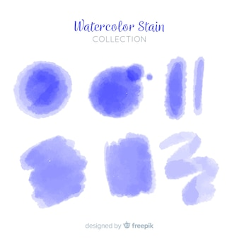 Blue realistic watercolor stain collection
