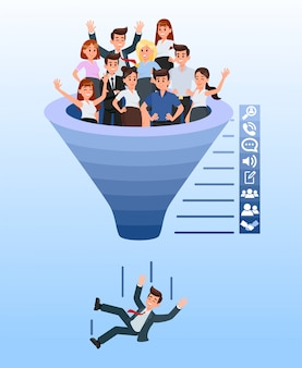 Blue recruitment funnel color vector illustration