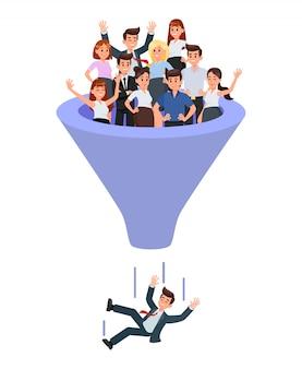 Blue recruitment funnel   illustration