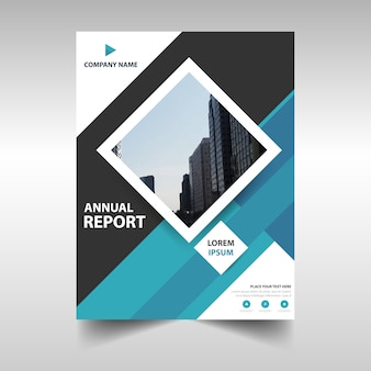Blue rectangular corporate annual report template