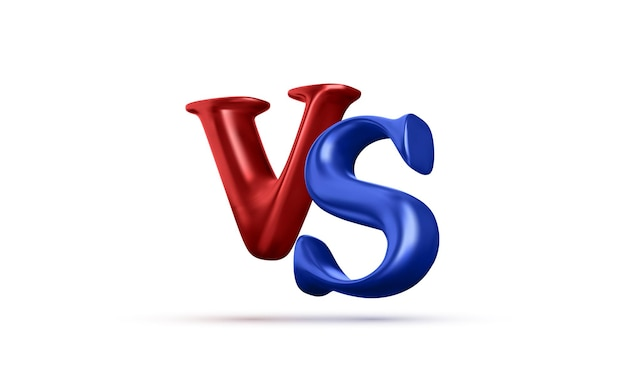 Blue and red 3d versus battle headline isolated on white background. competitions between contestants, fighters or teams. vector illustration