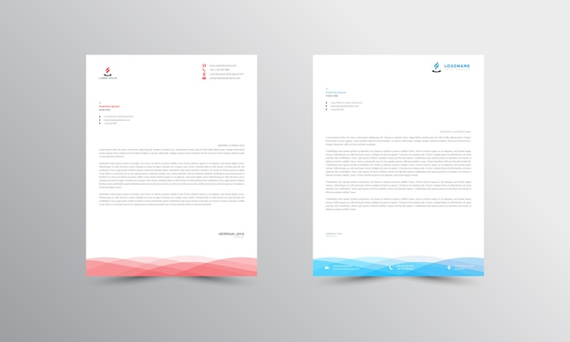 Blue and red abstract letterhead template