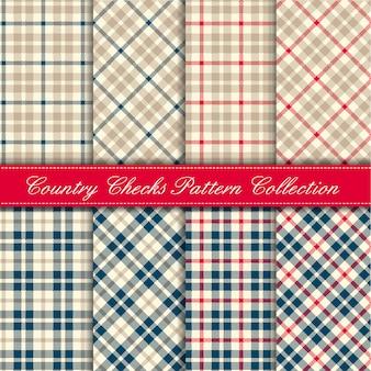 青、赤、ベージュの国チェックパターンコレクション
