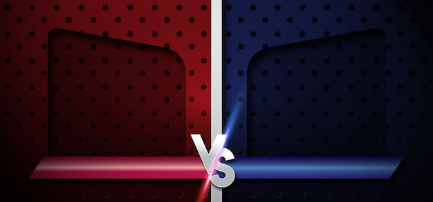 Blue and red background with versus