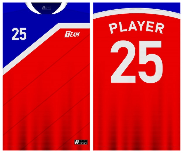 Blue and red color soccer jersey template