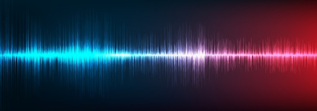 Blue and red digital sound wave background, technology and earthquake wave concept