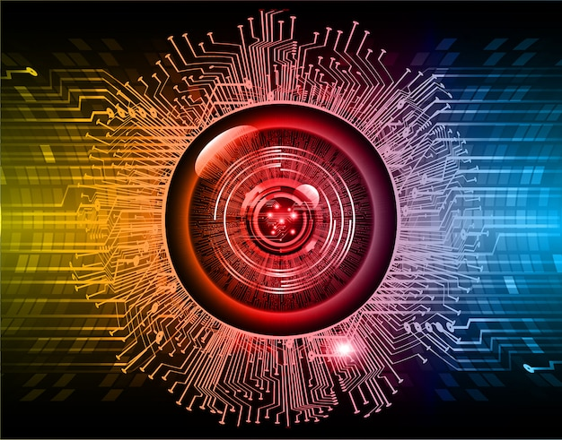 Blue red eye cyber circuit future technology background