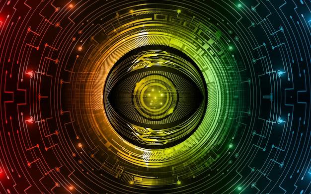 Синий красный глаз кибер цепи будущей технологии концепции фон