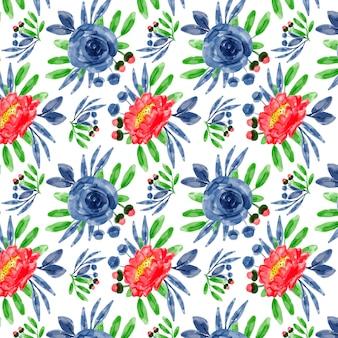 青赤花柄水彩シームレスパターン