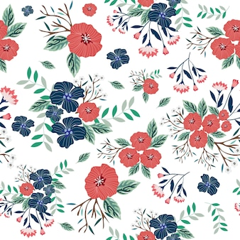 Blue and red flower seamless pattern