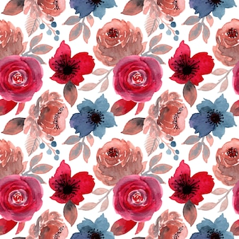 Blue red flower watercolor seamless pattern