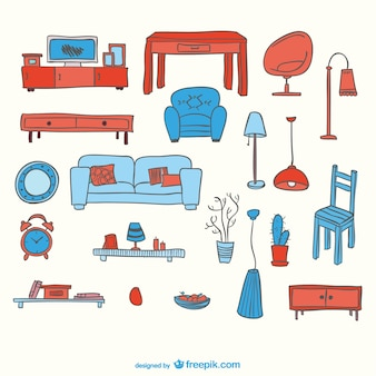 Blue and red furniture elements