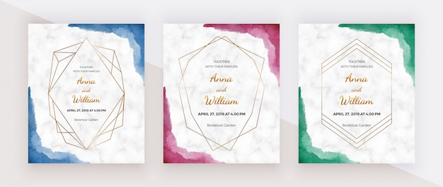 Blue, red and green brush stroke border watercolor texture with golden polygonal lines frames on the marble texture.