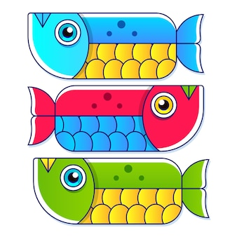 Blue, red and green colorful tropical fish cartoons on white background