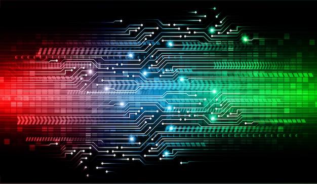 青赤緑サイバー回路将来の技術コンセプトの背景