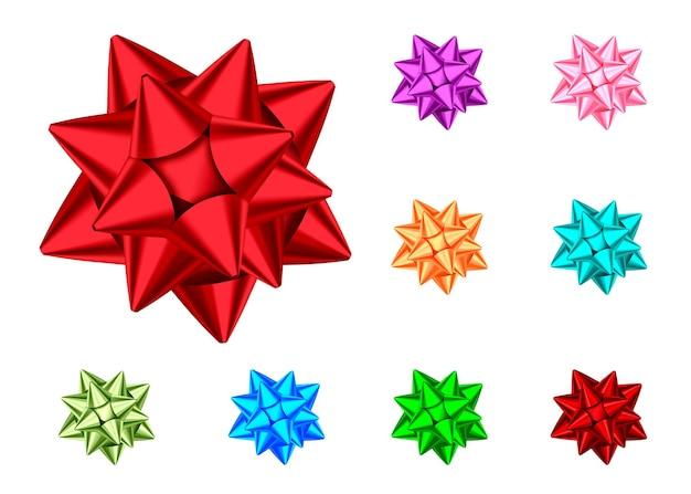 青、赤、緑、ピンク、オレンジ、紫のギフトの弓は、白い背景で隔離。クリスマス、新年の装飾。バナー、グリーティングカード、ポスターの休日のデザイン要素のベクトルを設定します。
