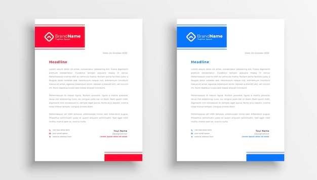 Blue and red letterhead template design Free Vector
