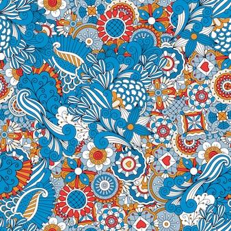 Blue red and orange vintage floral pattern