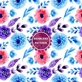 Blue red pattern with watercolor flower