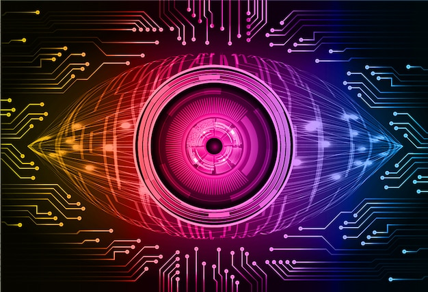 Blue red purple eye cyber circuit future technology concept background