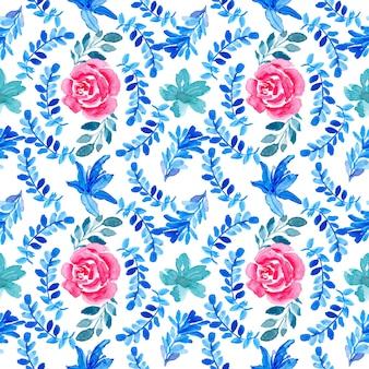 블루 레드 원활한 수채화 꽃 패턴