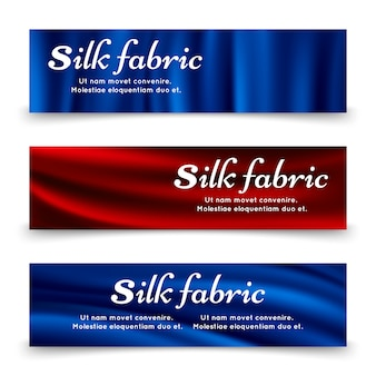 Blue and red silk fabric banners template