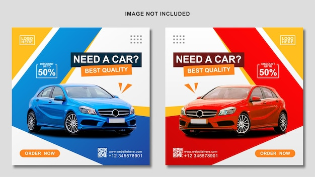 Blue and red social media car rental banner template